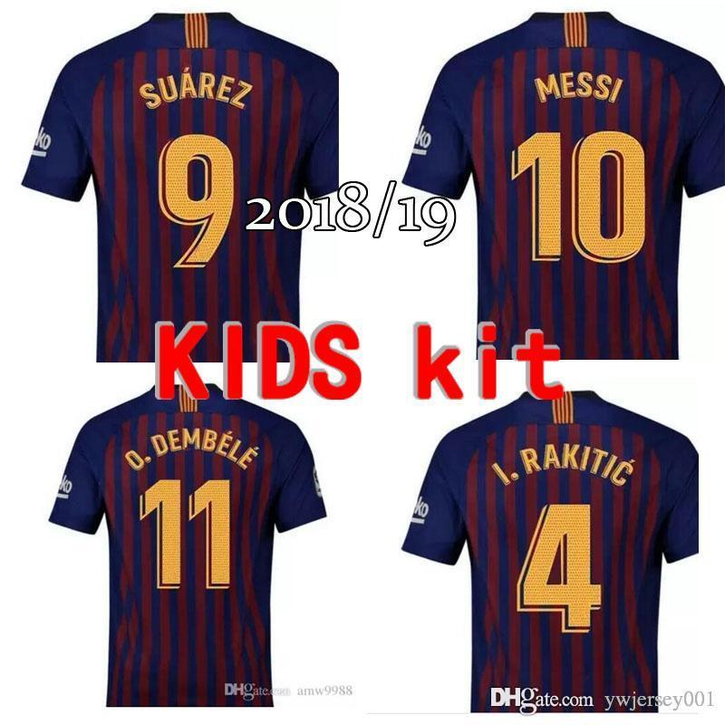 1a91cf60c Children s clothes 2018 Barcelona jersey Messi Suarez Iniesta Football  shirts 18 19 youth child Coutinho DEMBELE home soccer jerseys