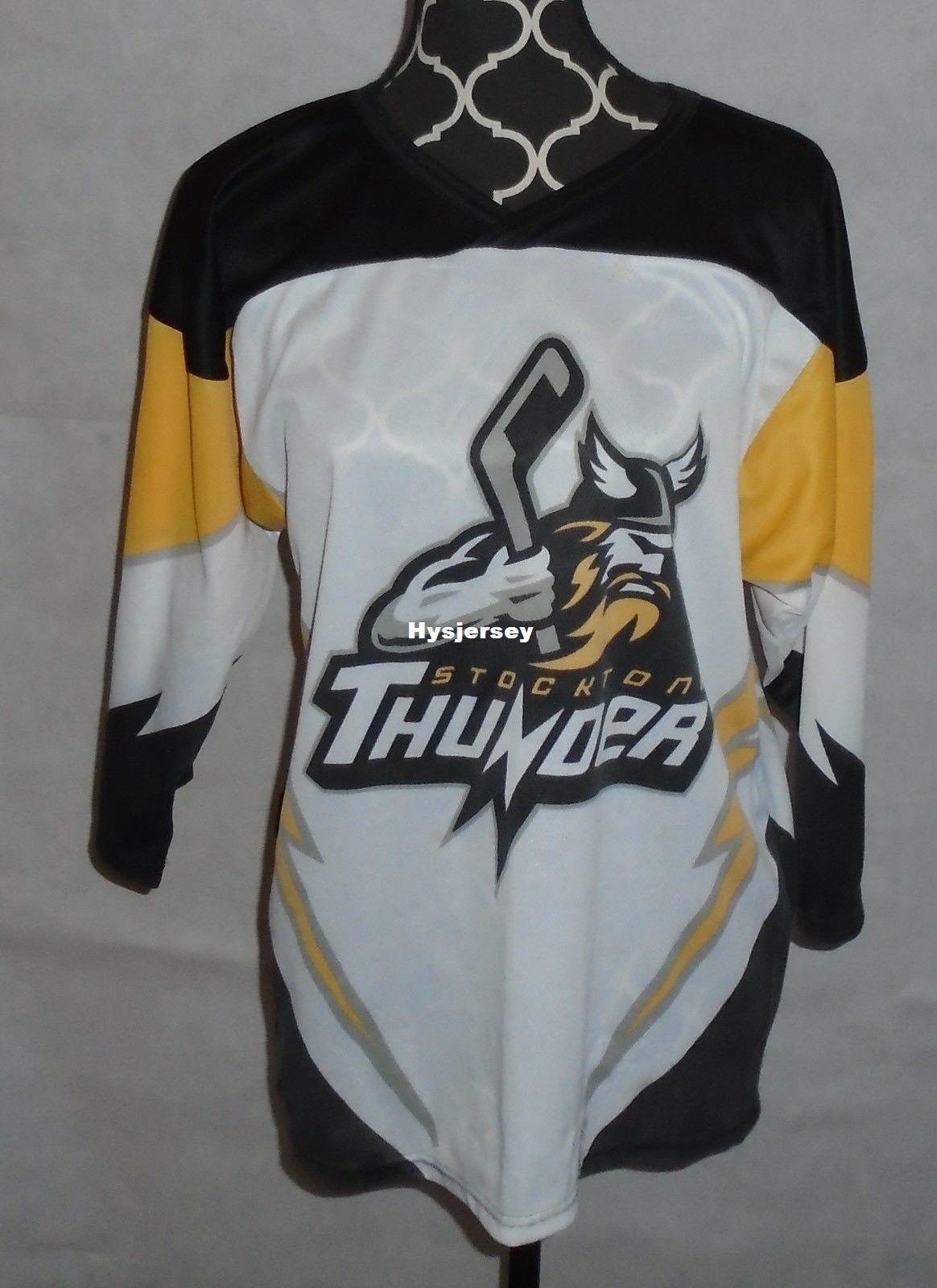 the latest 2a831 49e49 New Cheap custom Stockton Thunder Jerseys Minor League Hockey Pepsi 104.1  Hawk stitched Men s hockey jersey
