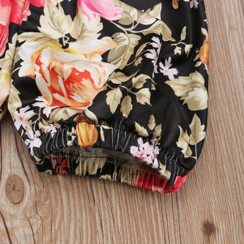 1-5T Baby Mädchen Langarm T-Shirt Outfits Sets braun T-Shirt + schwarz floral Bloomer Spitze Taille Shorts Sets für Kleinkinder