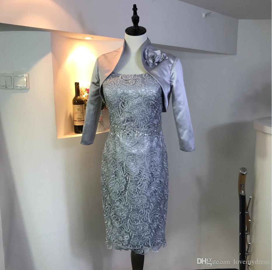 Zarif Şerit 2018 Gelin Damat Elbiseler anne Iki Adet Jewel Boyun Dantel Korse Diz boyu Ucuz Balo Abiye