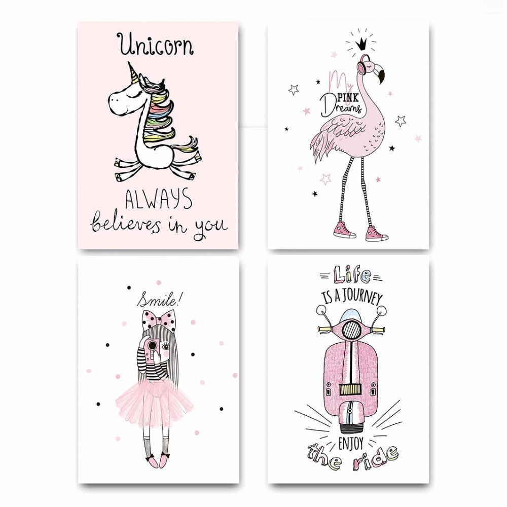 Satın Al Pembe Kız Unicorn Flamingo Posteri Ve Baskı Duvar Sanatı