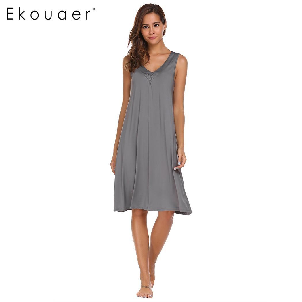 Ekouaer 2017 Casual Nightgown Women Solid V-neck Knee Tank Sleepwear Summer  Sleeveless Loose Nightwear Brand Nightgowns   Sleepshirts Cheap Nightgowns  ... 680708e67