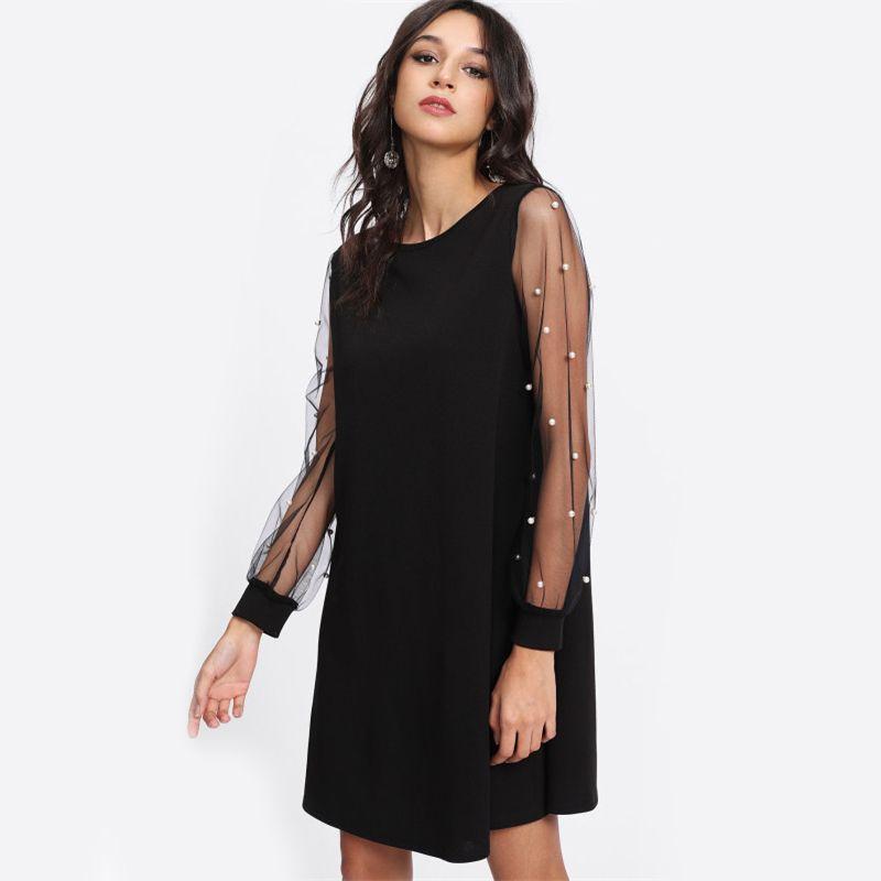 Elegant Womens Dresses Pearl Beading Mesh Sleeve Tunic Dress Autumn Black Boat Neck Long Sleeve A Line Dress