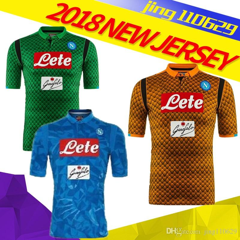 a252c8794f4 Latest 18 19 Napoli Soccer Jersey Home Blue 2018 2019 Naples ...