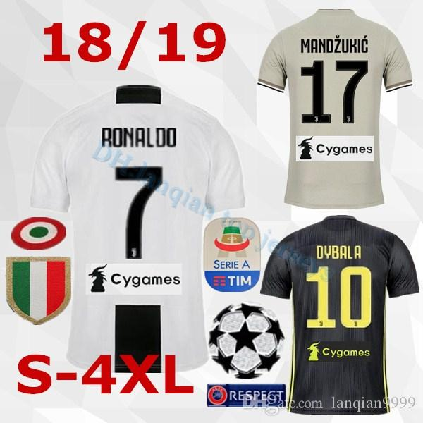 the latest 890fa fdd20 S-4XL 2018 Thai Quality RONALDO JUVENTUS Soccer Jersey Men 18/19 7# JUVE  CR7 9 Higuain 10 Dybala Home Away Third Football Shirt uniforms