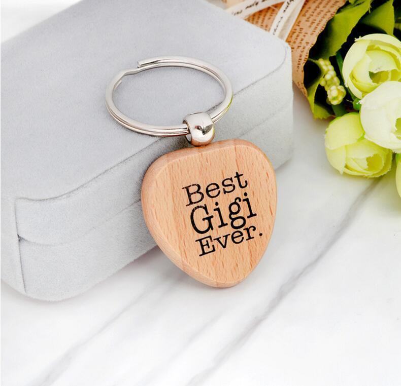 Форма сердца Дерево Брелок Письма Любовь Вам Лучшая Мама Лучшая Нана Бабушка Парень Mimi Were KeyChain Ключные Кольца Деревянные Ключ Брелок 8 Стиль