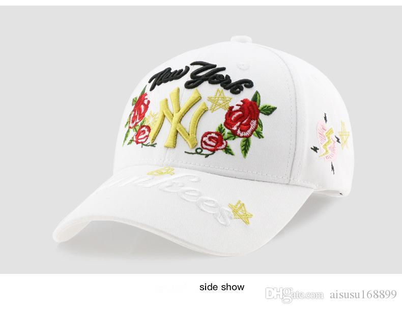 f09adcfc600 Ladies  Roses Embroidered Baseball Caps Fashionable Korean Hip Hop ...