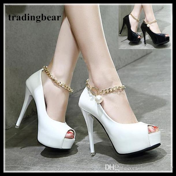 d3976865449 Gold Chain White Stiletto Heels Platform Shoes Bridesmaid Wedding Shoes  Sexy Women Designer Heels Size 34 To 39 Formal Shoes For Men Formal Shoes  From ...