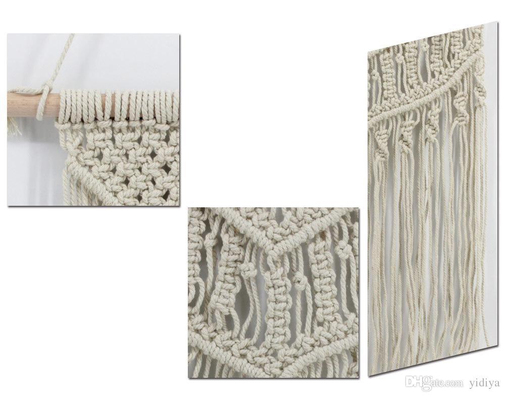 Bohemia Macramé Tejido a mano Tapiz Viento Tejido a mano Tapiz La sala de estar Colgante de pared tapices de mandala de playa