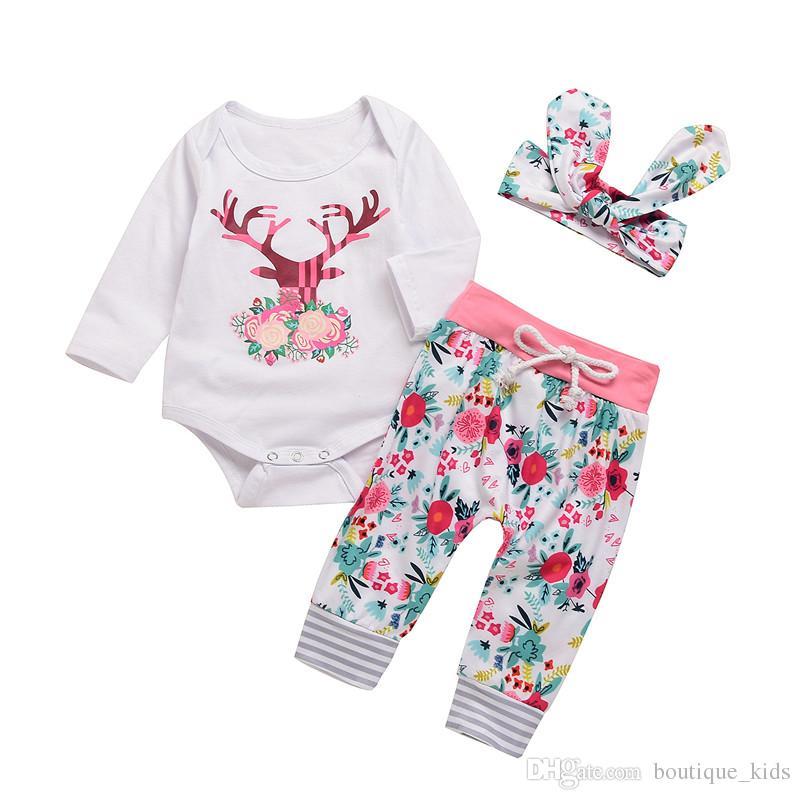 0b28e2457 2019 Newborn Baby Girl Clothes Deer Floral Romper Tops Pants ...