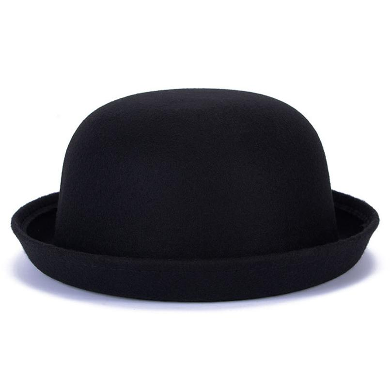 a8dbd0dda72 2019 2018 Spring Autumn Winter Faux Wool Fedoras Hats For Women Bowler Hats  Vintage Dome Caps Chapeau Top Solid Color Winter Cap From Ancient88