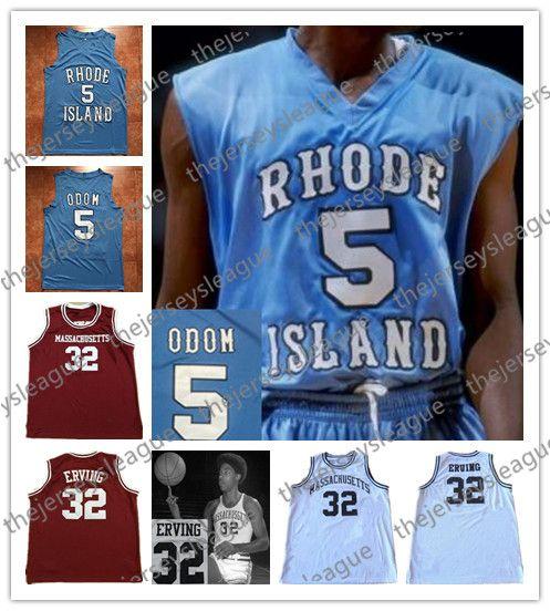 best loved 3867c d3215 University UMASS Massachusetts Minutemen #32 Julius Erving Red Stitched  Retro Rhode Island Rams #5 Lamar Odom Blue Basketball Jerseys