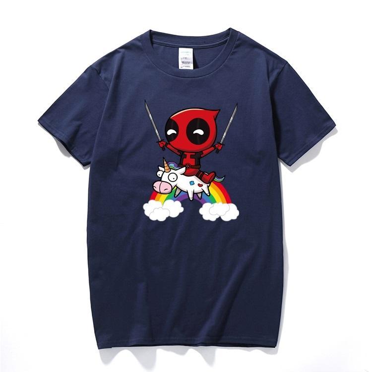 f93089d632e 2018 Men Women Boy T Shirt Funny Cute Deadpool 2 Minion Riding A Horse  Rainbow Cosplay Costume Cartoon Cotton T Shirt For Kids Ladies T Shirts  Shirts Design ...