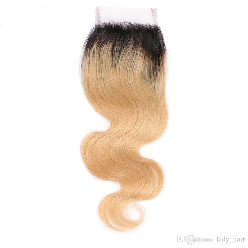 Honey Blonde Ombre Virgin Hair Weaves with 4x4 Lace Closure 2Tone 1B/27 Strawberry Blonde Ombre Human Hair Body Wave 3Bundles with Closure