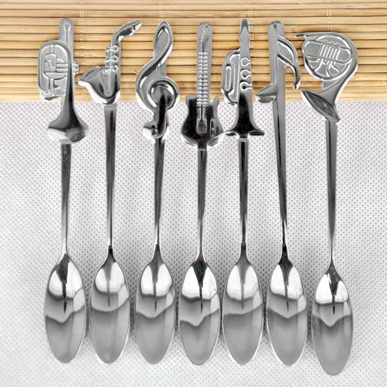 Compre 7 Unids / Set / Lote Nota Musical Instrumento Té Café Sopa ...
