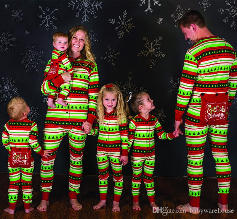 Family Matching Christmas Pajamas Mom Dad And Kids Sleepwear Family Matching  Jusmpsuits Colorful Stripe Printed New Year Pajamas Family Look Mom Dad Baby  ... b8e032554