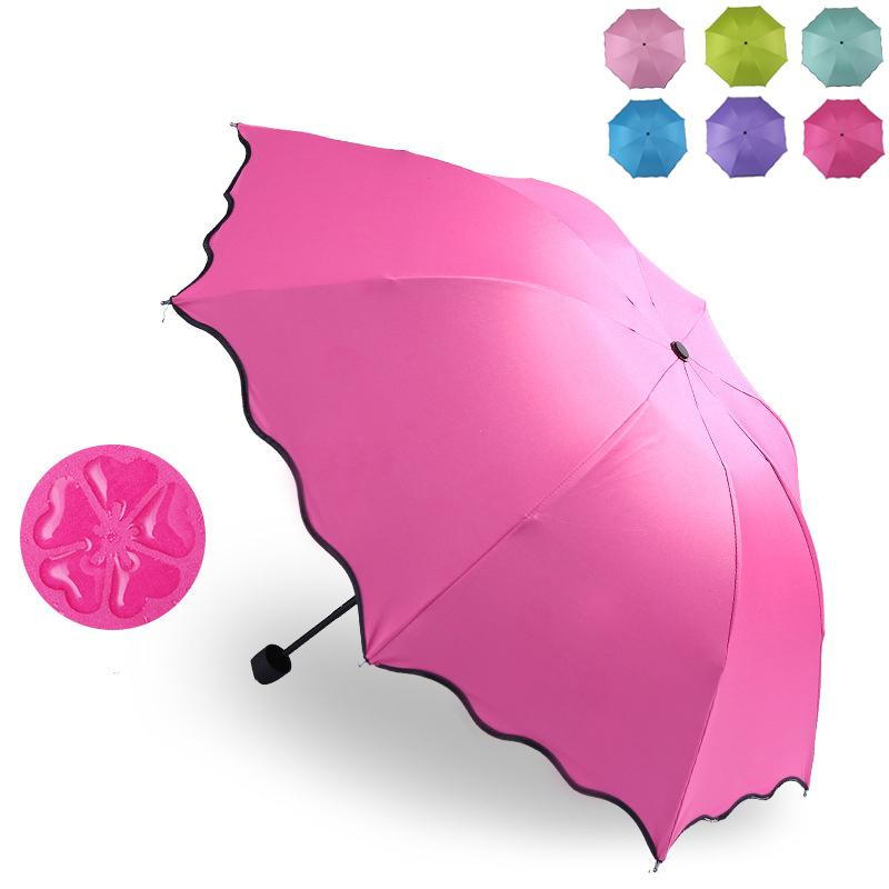 82327df3fc2d Woman Folding umbrella magical bloom flower in rain water fashion windproof  sunshade for lady girl outdoor travel parasol UV protection