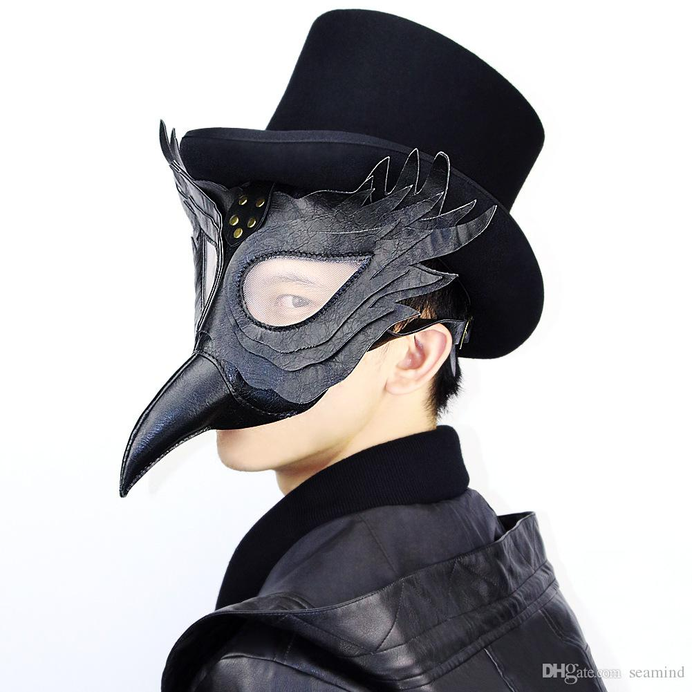 Party Masks Black PU Leather Plague Doctor Steampunk Mask Women Men Punk Wings Rivets Halloween Carnaval Cosplay Gothic Mask Props