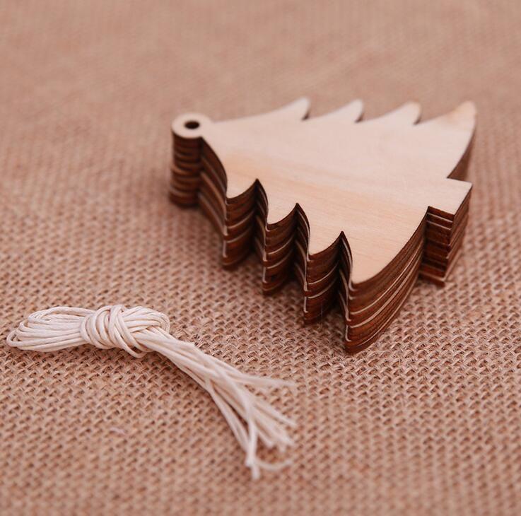Christmas decoration wood chip Christmas tree ornaments hanging DIY pendant Xmas home party decor Xmas gift crafts