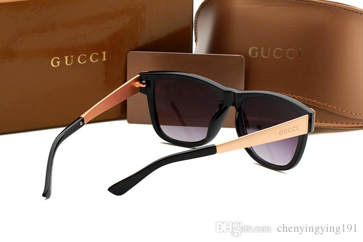 Luxury Plastic Sunglasses Fashion Brand Designer Womens Square Sun glasses Gold Metal Frame Gradient Lens Sunglasses Factory Cheap G3718
