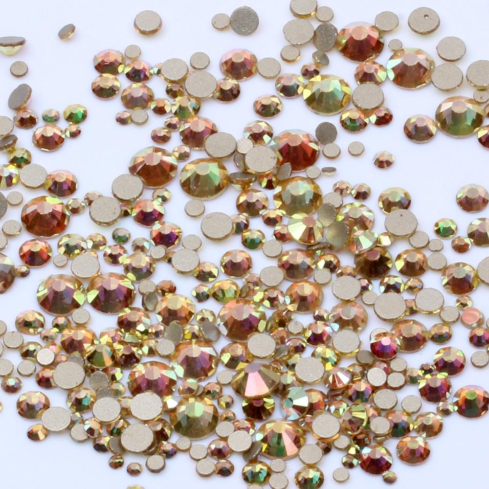 Metallic Shine Many Size Non Hotfix Gold Bottom Crystal Rhinestones Glass Glue On For Wedding Dresses DIY Nail Art Decorations