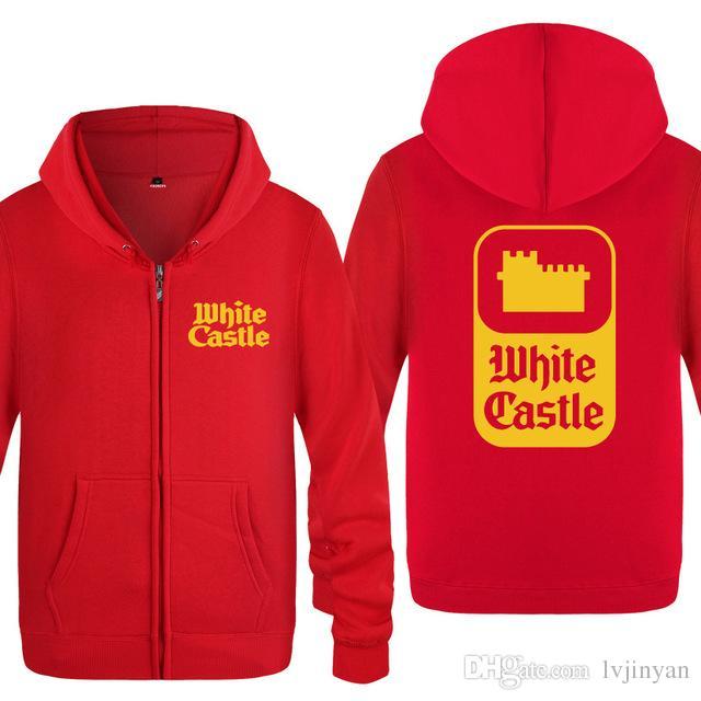 Mens Hoodies White Castle Hoodie Men Skate Fleece Long Sleeve Zipper Jacket Coat Fashion Winter Sweatshirt For Men Women Moleton
