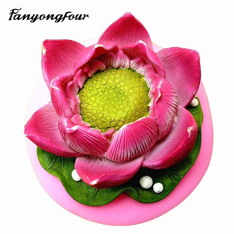 2019 Lotus Flower Mold Cake Mold Chocolate Gypsum Candle Soap Candy