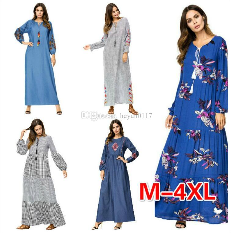 New Muslim Women Fashion Large Size Abaya Dress Ankle Length Dress Long  Sleeve Islamic Clothing Plus Size Embroidery Maxi Dress Dresses For A Party  White ... 3ee4960d9
