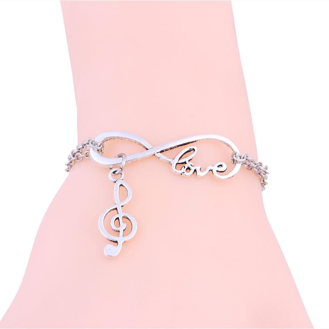 0e26d2c2a915a Hot Sell Antique Silver Infinity Love Music Notation Charms Pendant  Bracelet Fashion Couple Jewelry Best Gift European And American Popular