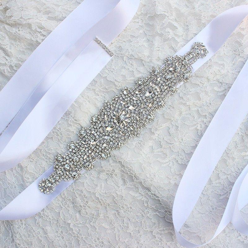 2018 2018 New Luxury Rhinestone Crystals Belt Wedding Dress ...