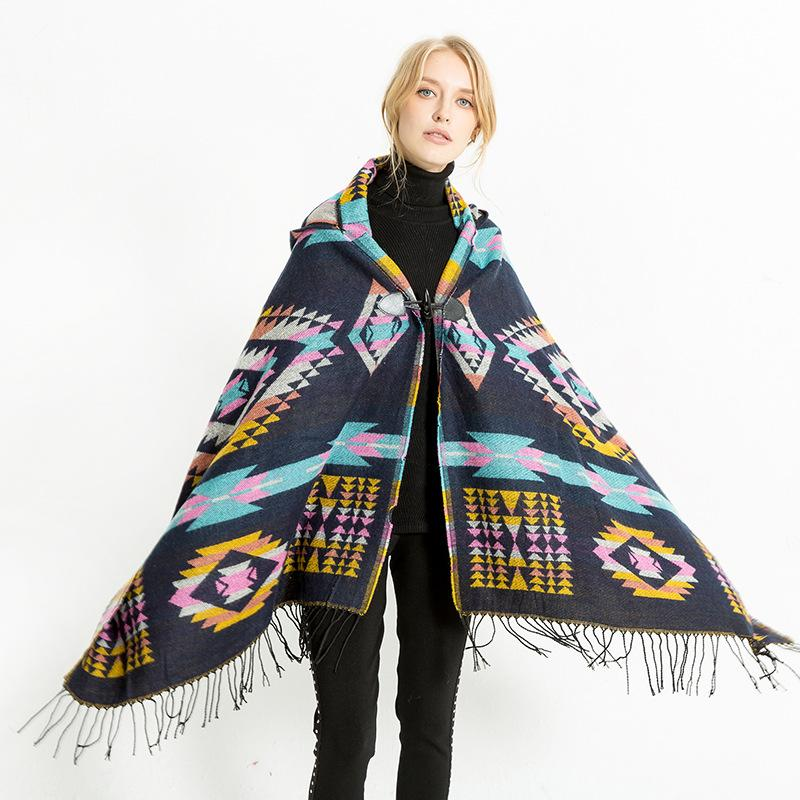 ec0eb41d 10types women's new abstract style hooded cloak air conditioning shawl  cashmere travel scarf 186x80cm