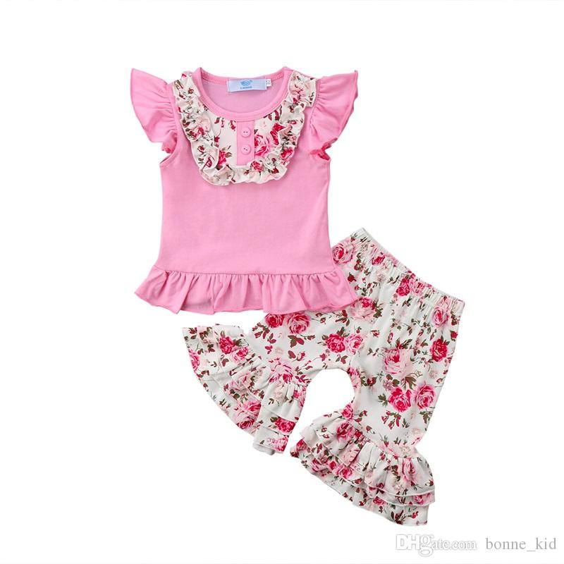 663f946afff 2019 Kids Girls Clothing Floral Pink Sleeveless Top+Bell Bottoms Set Outfit  Summer Ruffles Baby Girl Clothes Kindergarten Wears 1 6Y From Bonne kid