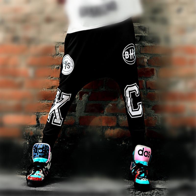Just.Be.Never Hiphop Dance Harem Pants Winter Loose Letter Printing Casual  Trousers Elastic Waist Hip Hop Black Xc Baggy Slacks C18111301 UK 2019 From  ... b40c33d6317d