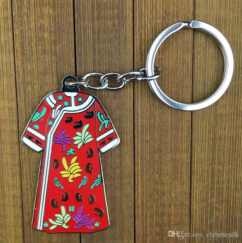Antique Chinese Clothes shaped Keychain for Women Gift Keyring Metal Zinc Alloy Key Pendant Charms Key chain