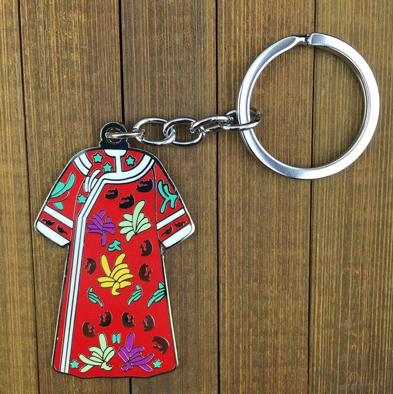 Antique vêtements chinois en forme de porte-clés pour les femmes cadeau porte-clés en alliage de zinc clé pendentif charmes clé chaîne /