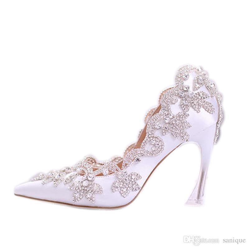 2018 Stilvolle Perlen Flache Hochzeitsschuhe Für Braut Prom 9 CM High Heels Plus Größe Spitz Spitze Brautschuhe