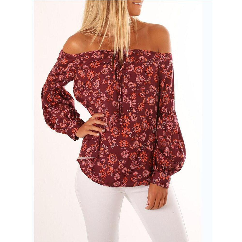 22cf6965c0452 2019 Autumn Fashion Long Sleeve Women Off Shoulder Floral Print Blouse  Casual Tops Shirts Camiseta Blusas Mujer De Moda Plus Size Top From  Illusory01
