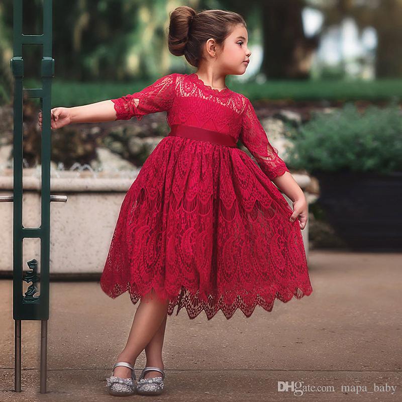 eb8ef1b2e85 Acheter Robes De Dentelle De Fille Princesse Boutique Blanc Rouge Rose Robe  De Fête De Noël Bowknot Robe D anniversaire Pour Enfants Élégante Jupe Robes  De ...