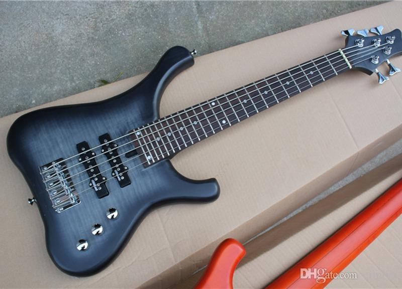 Black 5 Strings Short Chord Electric Bass Guitar With Flame Maple ...