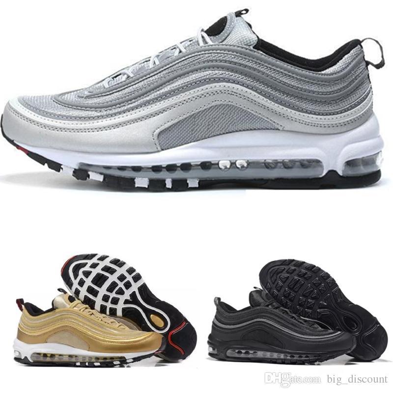 c18b16004c9 Compre Nike Air Max 97 Airmax 97 2018 Max97 97 Og Undftd Invicto Triple  White Zapatillas De Running Air97 OG Metallic Gold Silver Bullet Zapatillas  De ...
