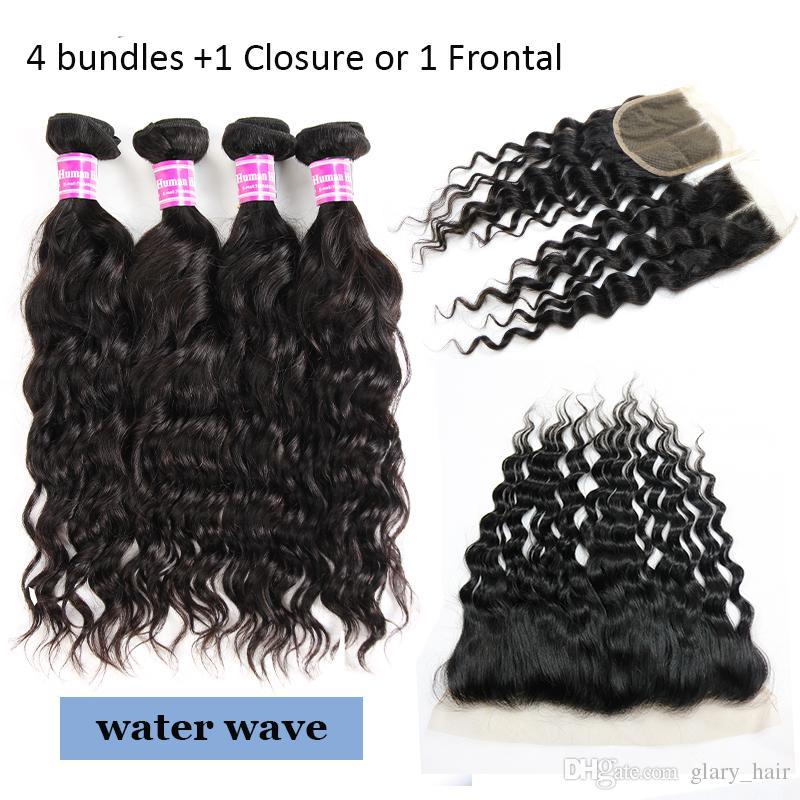Onda de agua de la onda profunda brasileña barata del pelo humano rizado rizado 4 paquetes con frontal recto onda del cuerpo de lotes con el pelo de encaje frontal Cierre