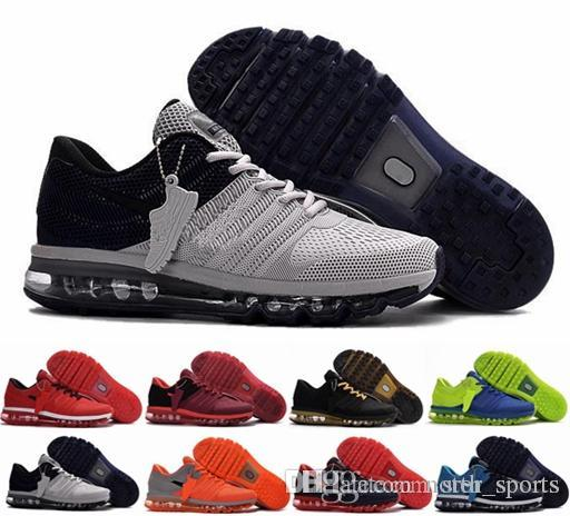 chaussures nike air max 2017 para hombre para correr, zapatillas de deporte de alta calidad 2017 KPU para hombres deportes naranja gris negro deporte