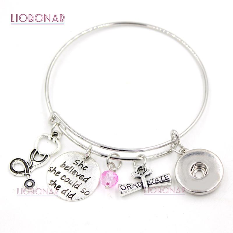 651908483 Snap Button Bracelet Medical Graduation Charm Bangle Adjustable Medical  Nurse Graduation Bracelets Jewelry For Nurse Gifts 925 Silver Birthstone  Charms From ...