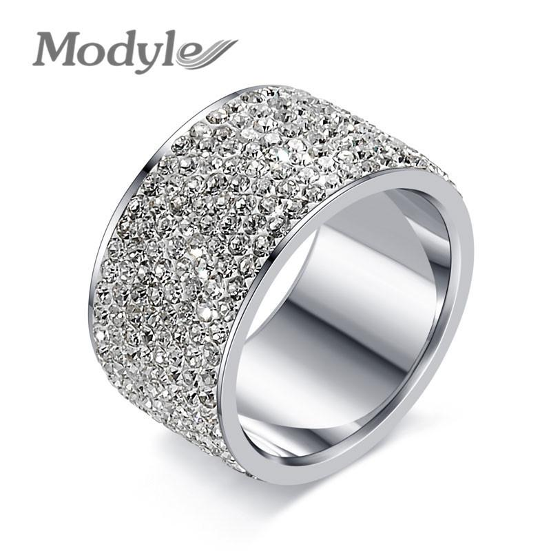 Modyle Fashion Full Crystal Big Wedding Rings For Women Romantic