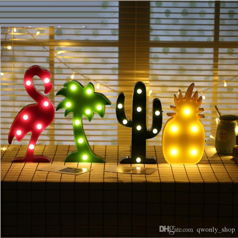 Cute Flamingo Led Night Light Marquee Sign Pineapple Cactus Wall ...
