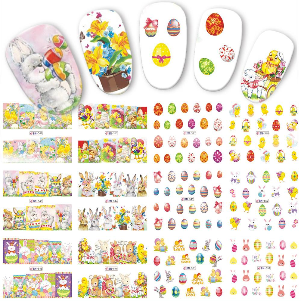 12 Designs/Sets Easter Egg Rabbit Colorful Sticker Nail Art Water ...