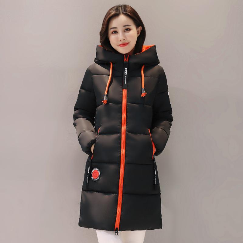 2018 Winterjacke Frauen dicke lange Frauen Parkas mit Kapuze weibliche Outwear Mantel Baumwolle gepolsterte Schnee tragen mittel lange S18101505