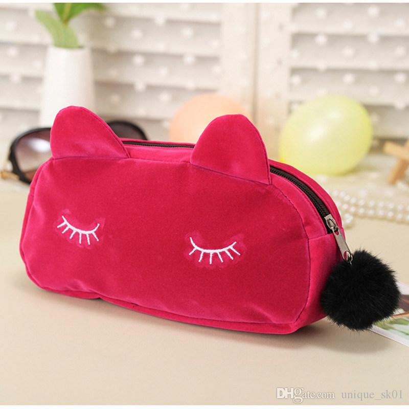 Hot sell Cute Cat Comestic Bag Portable Cartoon Cat Coin Storage Case Travel Makeup Flannel Pouch Bag Ladies Handbag Solid Colors DHL Free