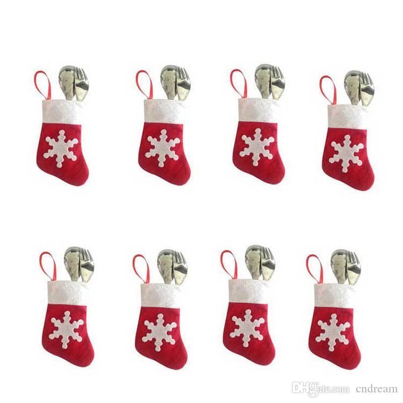 Großhandel Rot Mini Weihnachten Socken Abendessen Geschirr Gabel ...
