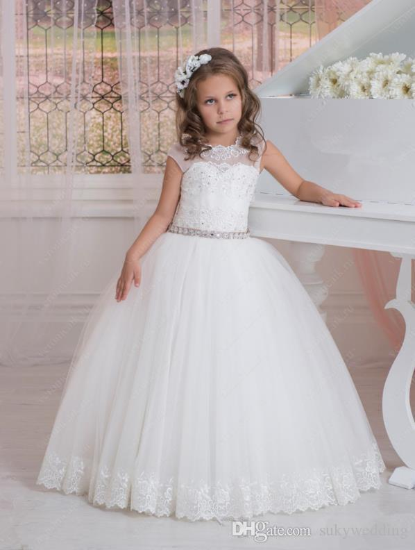 6a9237900d Cute Flower Girls Dresses For Weddings Kids Wedding Party Dresses Lace  Appliques Ruched Tulle First Communion Dress Toddler Pageant Dresses